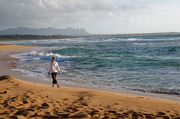 Walking on the Beach in Hawaii, Kauai