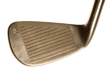 Close up detialed view of a golf club three iron