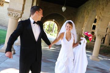 A beautiful bride and groom  at church wedding