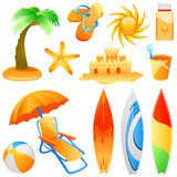 set of beach objects vector poster