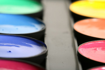 paint colors pallete macro close up