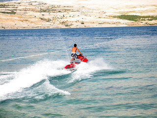 Having fun on jet-ski