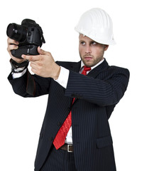 man with camera on isolated background.