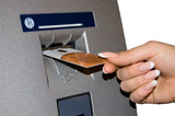 ATM Access - Female hand inserts banking card poster