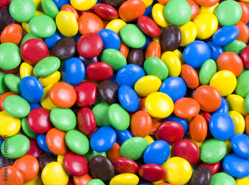 Assortment of Colorful Chocolate Candy Usable as Background - 8819631