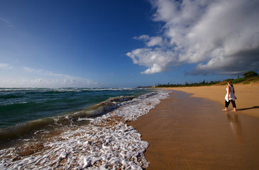 Tropical Hawaiian beach and crashing waves
