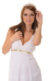 young brunette girl dressed like a Greek Goddess poster
