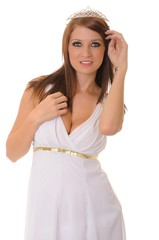 young brunette girl dressed like a Greek Goddess