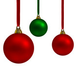 Vibrant red and green Christmas baubles poster