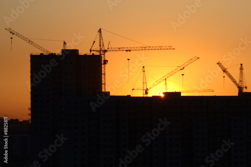 Russia. Saint-Petersburg. Building on the sunset