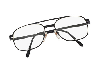 Old fashion metal frame spectacles on white background