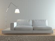 Współczesny włoski białe skórzane kanapy