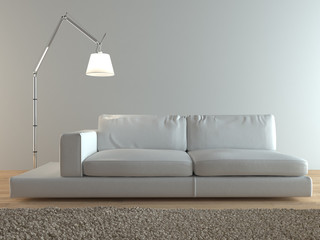 Contemporary Italian white leather couch