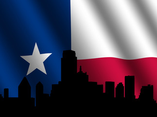 Dallas skyline with rippled Texan flag illustration