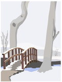 winter idyll, color vector illustration poster