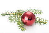 spruce branch and christmas decoration on white background poster