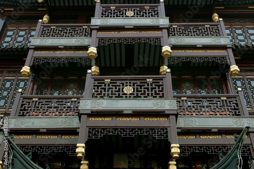 China, Shanghai city. Ancient architecture closeup.