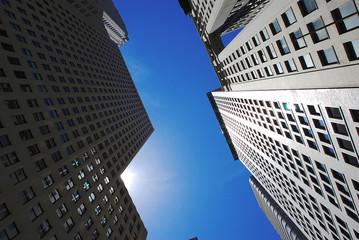 Modern office buildings in New York over blue sky