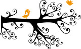 ornamental tree with swirly branches and birds