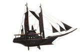 Wooden replica of vintage sailboat poster