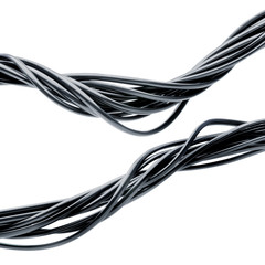 bundle of electric cables isolated over white background