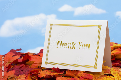 Thank you card on leaves with copy space
