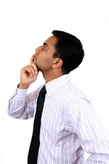 Indian business man in thinking pose.