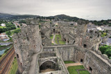 Conwy Castle and its interior on the North Wales coast poster