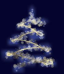 stylized xmas tree with gold stars