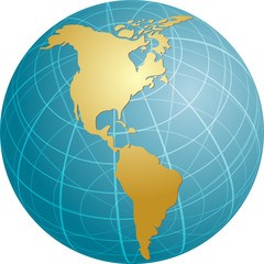 Map of the Americas, on a globe, cartographical illustration