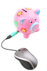 Isolated computer mouse and Piggy bank