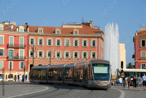 Leinwandbild Motiv Tramway at the Place Masséna in Nice, France