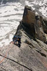 Girl in classic mountain climbing route