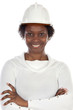 Woman engineer smiling a over white background