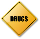 Drugs Caution Sign poster