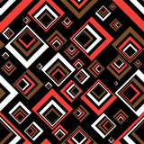 Seventies inspired abstract background in red and black poster