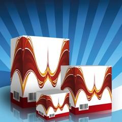Cajas genericas con Impresion en rojo