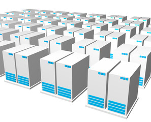 Servers from a Webhosting Company With a White Background