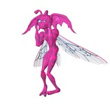 bright pink scared toon pixie poster