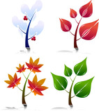 Four Season Style Trees. Easy To Edit Vector. poster