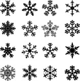 16 Black and White Snowflakes Set. Easy to edit vector. poster