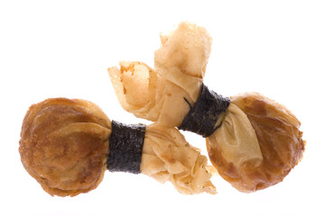 Isolated macro image of Chinese Fried Wantan.