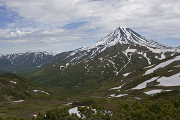 Viluchinskiy volcano in summer. Kamchatka