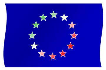 Tricolore italiano su bandiera UE