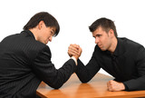 Two businessmen competing in arm wrestling poster