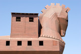Famous Trojan horse in ancient city of Troy poster