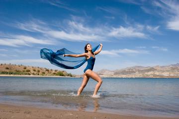 Sexy young female enjoying the beach