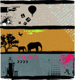 Abstrakt background set with animal, clokc and old script poster