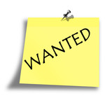 yellow wanted memo on a white background poster