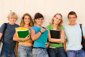 group happy teenager students